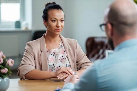 Black girl attending job interview