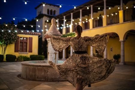 Lady in beautiful dress outdoor. Stok Fotoğraf