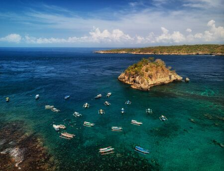Aerial view of the Crsytal bay lagoon, Nusa Penida island, Indonesia