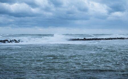 Stormy sea at Puglia coast, Italy.