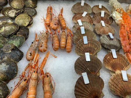 Various seafood at fish market in Bergen, Norway.