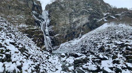 Stalheimsfossen waterfall in Naeroydalen valley, Norway Zdjęcie Seryjne