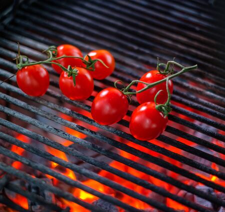 Cooking vegetables on a grill