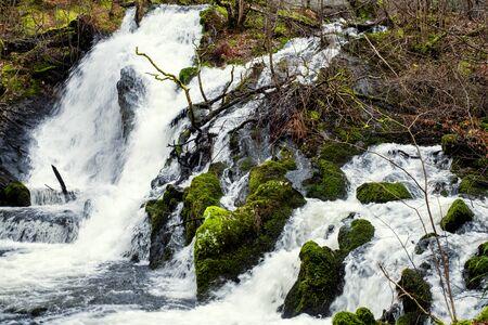 Kyrkjefossen waterfall in Fana, Norway.