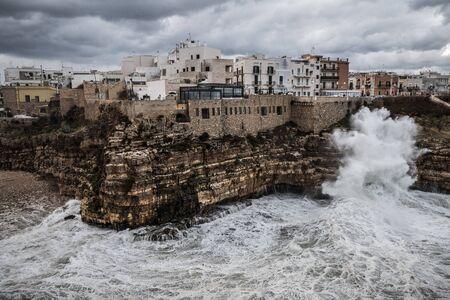 Stormy sea in Polignano a Mare, Italy.