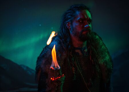 Viking warrior against Aurora Borealis