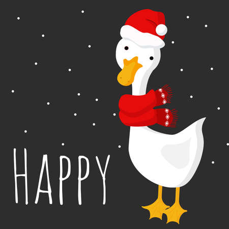 cute Christmas goose in a red scarf and santa hat on a dark gray background with snow and the words