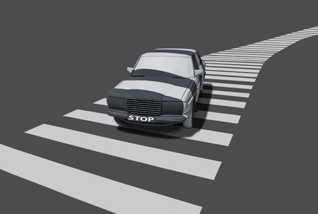 symbolically: The (generic) vehicle at a pedestrian crossing with STOP tables and painted with white stripes