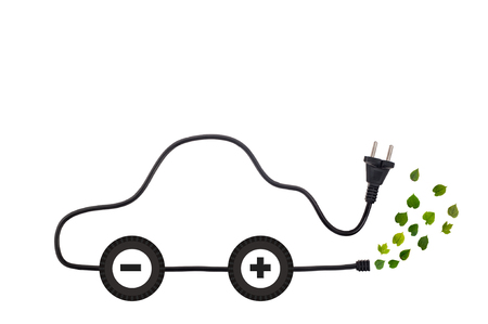 green fuel: Symbol of electric car derived from the power cord as a metaphor of Green Technology and Green Energy Design