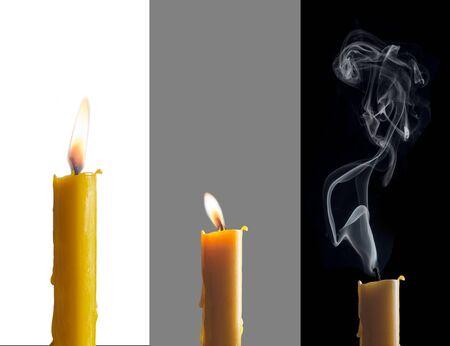 llamas: Tres fases de la misma vela. Una vela que se consume lentamente y la decoloraci�n en los fondos simb�licos.