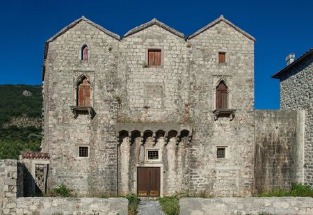 three sisters: Three sisters love the same sailor. They expect him, each in its own window. As the sisters died each window was walled up, except for the last one. Pr?anj-Kotor-Montenegro.