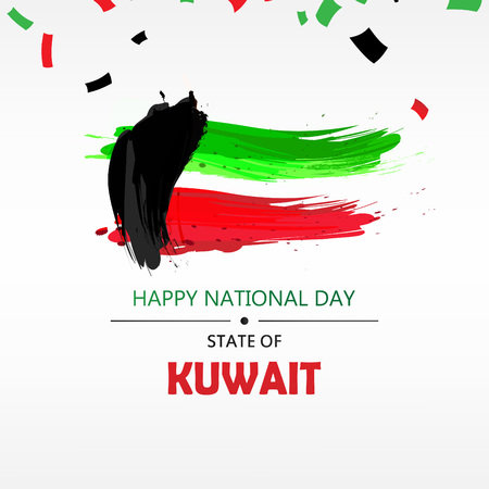 Kuwait National Day Header, poster or banner Background Vector illustration celebration 25-26 February Festive icon with national flag and decoration Ilustrace