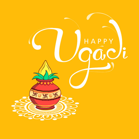Happy Ugadi 2018 with vase on yellow background, Editable Abstract Vector Illustration based on Ugadi Font on colorful decorative grungy background. Stock Vector - 95533644