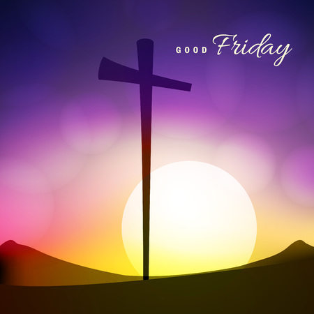 Cross and mountains silhouette with text calligraphy Good Friday on sunrise bokeh background. Illustration