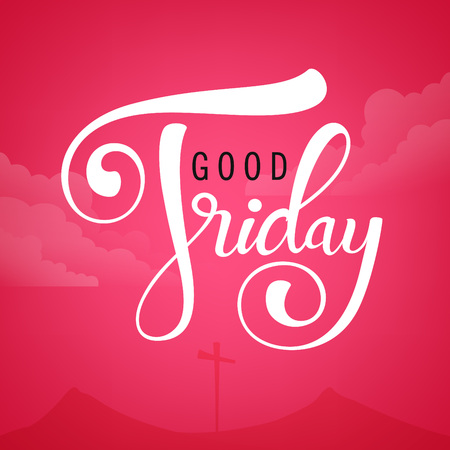 Cross, mountains and clouds silhouette with text calligraphy good friday on pink background. Vector illustration. Vettoriali