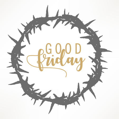 Abstract Good Friday editable vector illustration composed of crown of thorns and hand lettering text of GOOD FRIDAY. 版權商用圖片 - 95554020