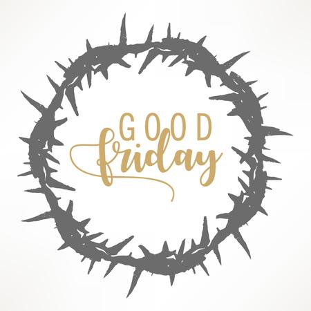 Résumé Vendredi saint vector illustration modifiable composé de couronne d'épines et de texte de lettrage à la main du bon vendredi. Vecteurs
