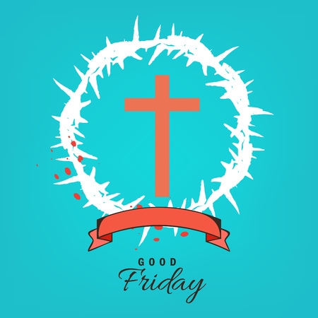 Abstract Good Friday editable vector illustration composed of crown of thorns and hand lettering text of GOOD FRIDAY.