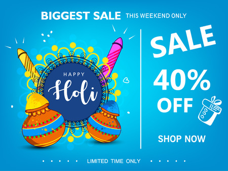 Abstract design of Indian hindu festival Holi , festival of colors , editable vectors with jar and rocket