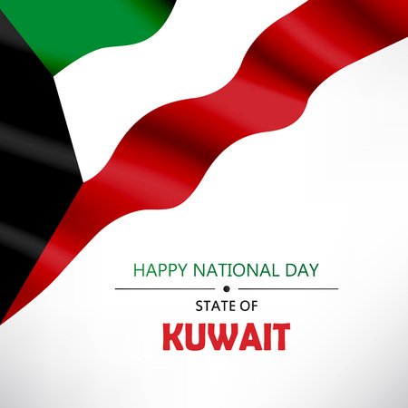 Kuwait National Day Header, poster or banner Background Vector illustration celebration 25-26 February Festive icon with national flag and decoration Vettoriali