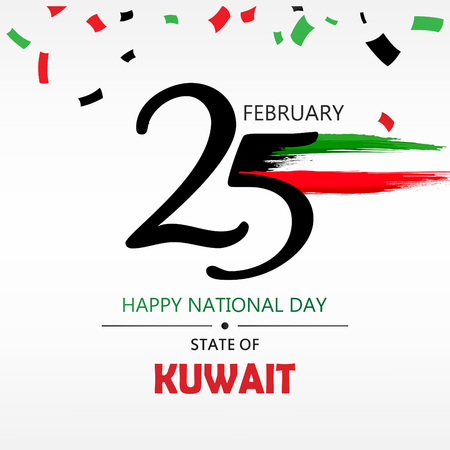 Kuwait National Day Header, poster or banner Background Vector illustration celebration 25-26 February Festive icon with national flag and decoration Иллюстрация