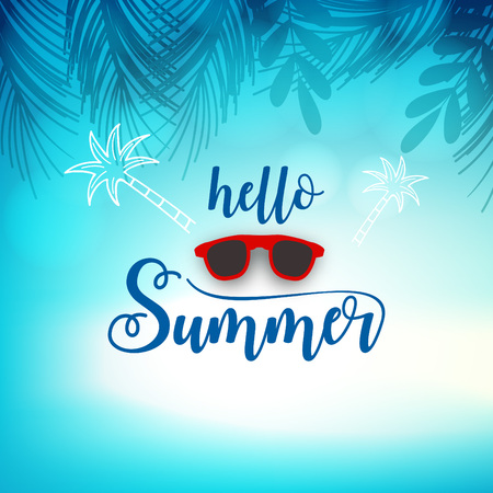 Say Hello to Summer, creative graphic message for your summer design Çizim