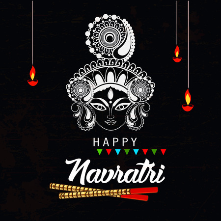 editable navratri vector illustration 2018 of goddess durga with festival background and text