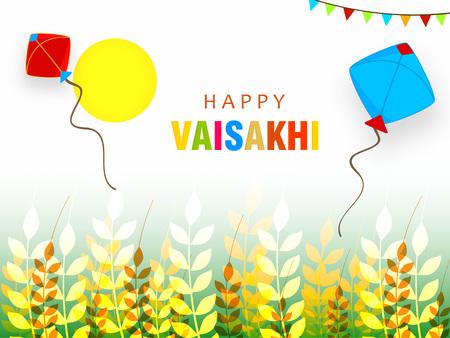 Illustration of Happy Vaisakhi  Baisakhi Punjabi festival celebration background with Punjabi celebration elements and stylish text of Happy Vaisakhi Illustration