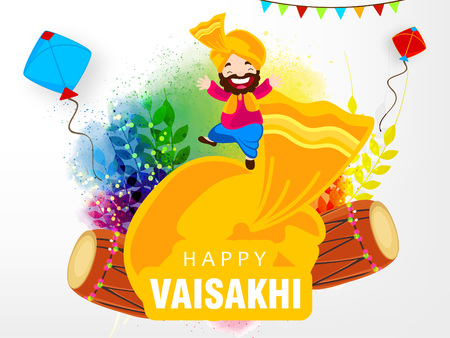 Illustration of Happy Vaisakhi  Baisakhi Punjabi festival celebration background with Punjabi celebration elements and stylish text of Happy Vaisakhi Illustration