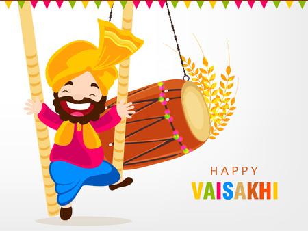 Illustration of Happy Vaisakhi / Baisakhi Punjabi festival celebration background with Punjabi celebration elements and stylish text of Happy Vaisakhi Stock Vector - 97278921