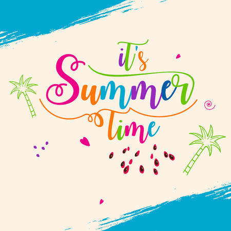 Abstract Summer time vector banner design with white hand written text and colorful beach elements in attractive background. editable Vector illustration. Vettoriali