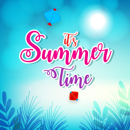 Abstract Summer time vector banner design with white hand written text and colorful beach elements in attractive background. editable Vector illustration. Ilustrace