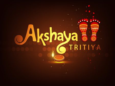 Abstract  Sale Banner Or sale Poster For Festival Of Akshaya Tritiya Celebration Background composed of festival elements like goddess laxmi, golden pot , coins and stylish text . Ilustrace