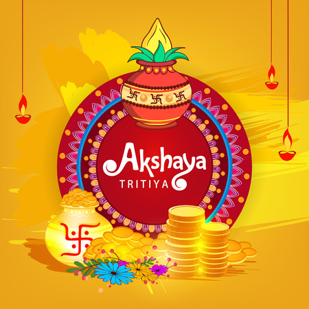 Abstract sale banner for festival of Akshaya Tritiya celebration. Background composed of festival elements like goddess laxmi, golden pot, coins and stylish text. Vettoriali