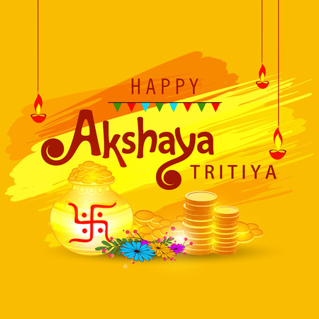 Abstract  Sale Banner Or sale Poster For Festival Of Akshaya Tritiya Celebration Background composed of festival elements like goddess laxmi, golden pot , coins and stylish text . Vettoriali