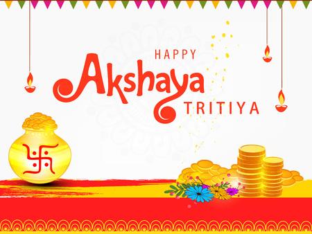 Abstract Sale Banner Or sale Poster For Festival Of Akshaya Tritiya Celebration. Illustration