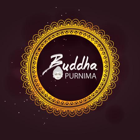 Abstract Buddha Purnima  Guru Purnima vector illustration with Buddha purnima text and face of buddha