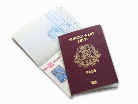 estonian: Russian visa and Estonian passport Stock Photo
