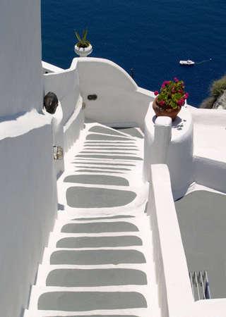 Stair to the blue sea, Santorini, Greece