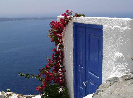 bougainvillea flowers: Blue door on Santorini island, Greece