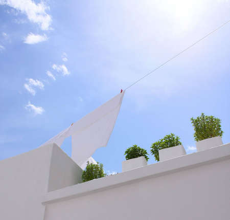 Washing line with blue sky photo
