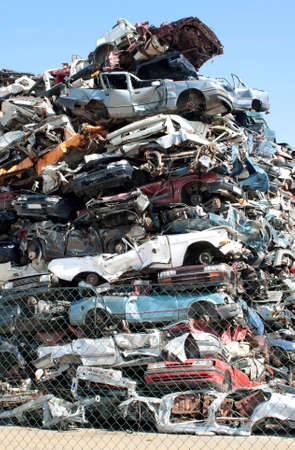 scrap heap: Old cars in the junkyard