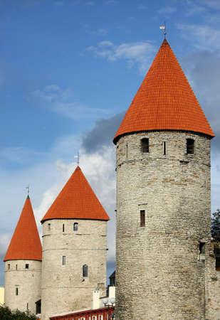 Three towers in old Tallinn, Estonia Stock Photo