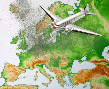 Europe map with volcano dust and airplane photo