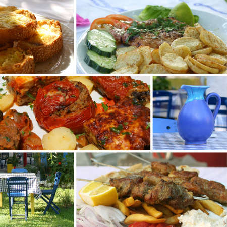 Greek traditional cuisine  food collage