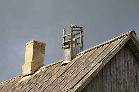 Renovated and the old chimneys on the roof photo
