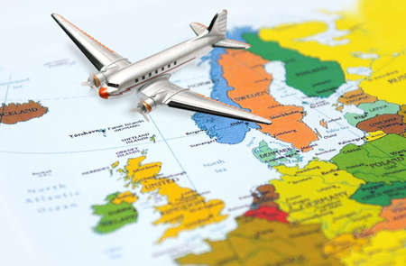 Fly from Europe - airplane at the background of the Europe map Stock Photo