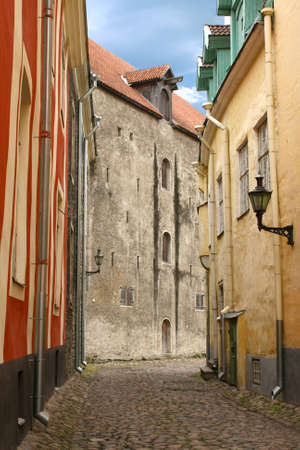 tallinn: Medieval street in Old Tallinn (Aida street), Estonia