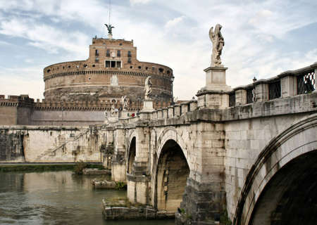Bridge and castle de SantAngelo. Roma. Italy Stock Photo
