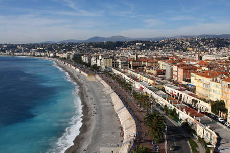 Nice, France - beach and town view Stock Photo